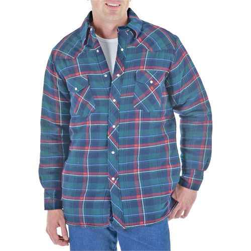 Wrangler Long Sleeve Flannel Plaid Quilted Lining