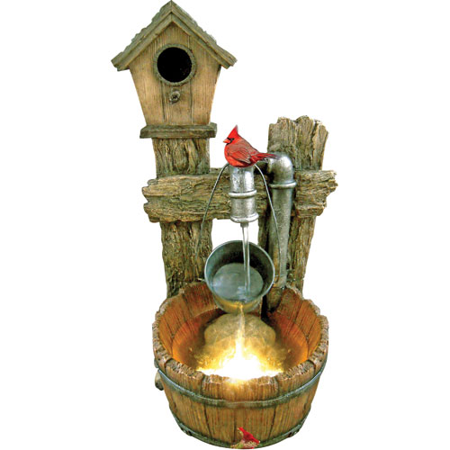 Resin bird house outdoor fountain w lights and pump workwithnaturefo