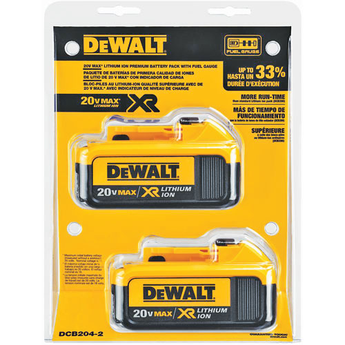 2 Pk Dewalt 20v Max Premium Xr Lithium Ion Battery Package