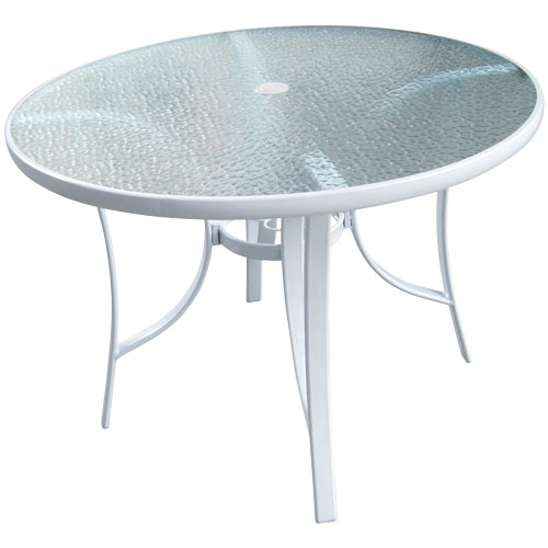 40 Round White Gl Top Patio Table